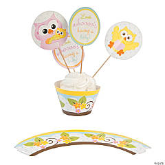 Paper Owl Baby Shower Cupcake Wrappers with Picks
