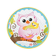 Paper Owl Baby Shower Dinner Plates
