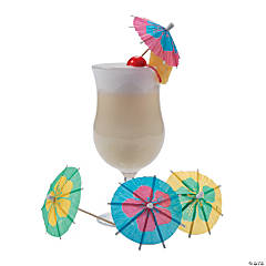 Paper Parasol Picks with Large Hibiscus Print Flowers