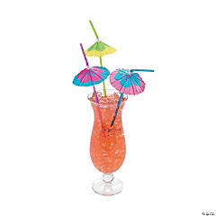 Paper Parasol Straws with Large Hibiscus Print Flower
