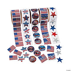 Paper Patriotic Rolls of Stickers Assortment