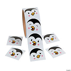 Paper Penguin Face Sticker Rolls