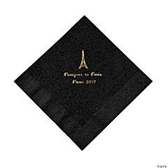 Paper Personalized Black Paris Luncheon Napkins