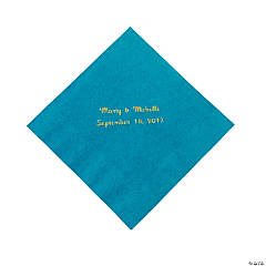 Paper Personalized Luncheon Napkins - Turquoise with Gold Foil