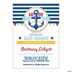 Paper Personalized Nautical Baby Shower Invitations