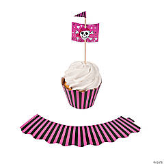 Paper Pink Pirate Cupcake Wrappers with Picks