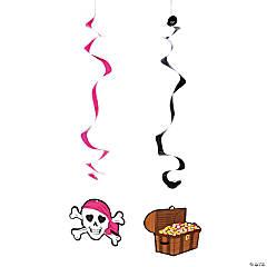 Paper Pink Pirate Hanging Swirls