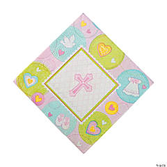 Paper Pink Sweet Christening Luncheon Napkins