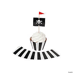 Paper Pirate Party Cupcake Wrappers with Picks
