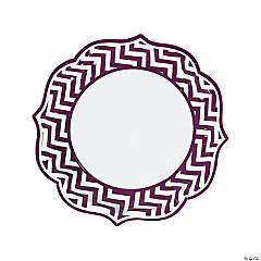 Paper Plum Chevron Scalloped Edge Dinner Plates
