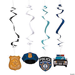 Paper Police Party Hanging Swirl Decorations - 12 Pc.