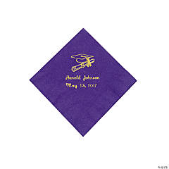 Paper Purple Grad Personalized Beverage Napkins with Gold Print