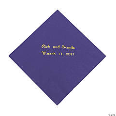Paper Purple Personalized Beverage Napkins with Gold Foil
