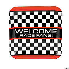 Paper Race Car Checkered Flag Dinner Plates