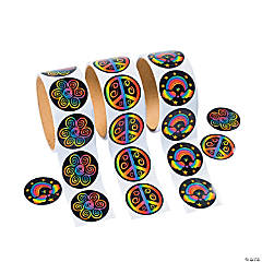Paper Rainbow Peace Roll of Stickers