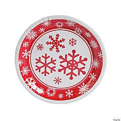 Paper Red & White Snowflake Dinner Plates