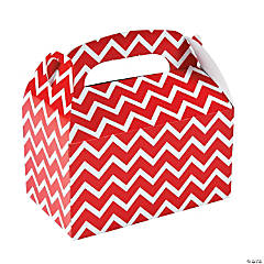Paper Red Chevron Treat Boxes