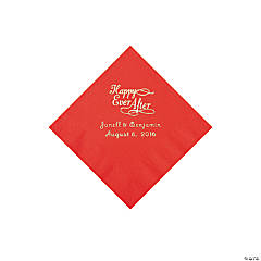 Paper Red Happy Ever After Personalized Napkins - Beverage