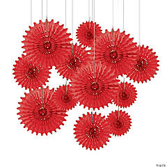 Paper Red Tissue Hanging Fans