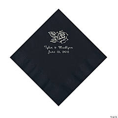 Paper Rose Personalized Black Luncheon Napkins