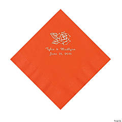 Paper Rose Personalized Orange Luncheon Napkins