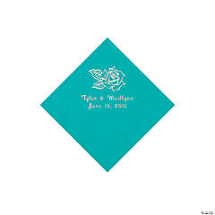 Paper Rose Personalized Teal Beverage Napkins