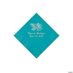 Paper Rose Personalized Turquoise Beverage Napkins