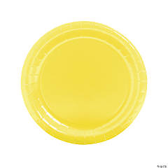 Paper Round Mimosa Yellow Dinner Plates