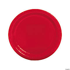 Paper Round Red Dinner Plates
