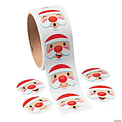 Paper Santa Face Sticker Rolls