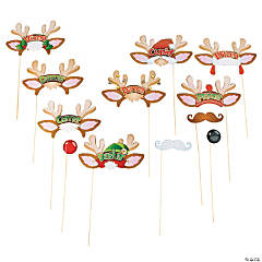 Paper Santa's Reindeer Photo Stick Props