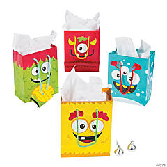 Paper Small Mini Monster Gift Bags with Tags