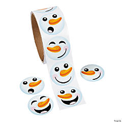Paper Snowman Face Roll of Stickers