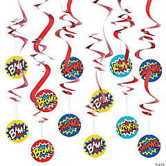 Paper Superhero Hanging Swirl Decorations - 12 Pc.