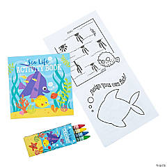 Paper Tropical Sea Life Booklet with Crayons