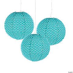 Paper Turquoise Chevron Lanterns