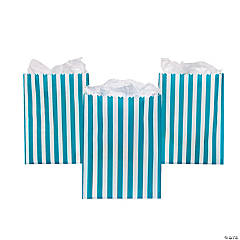Paper Turquoise Striped Treat Bags