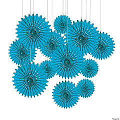 Paper Turquoise Tissue Hanging Fans