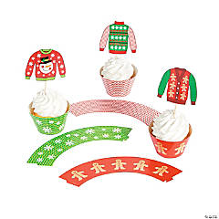 Paper Ugly Sweater Cupcake Wrappers with Picks