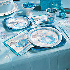 Paper Umbrellaphants Blue Dessert Plates
