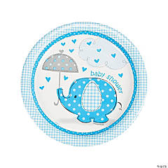 Paper Umbrellaphants Blue Dinner Plates