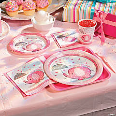 Paper Umbrellaphants Pink Dessert Plates