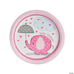 Paper Umbrellaphants Pink Dinner Plates