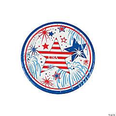Paper USA Fireworks Dessert Plates
