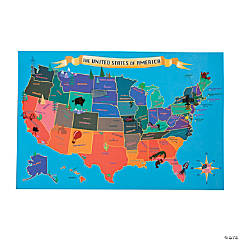 Paper USA Map Sticker Scenes
