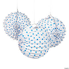 Paper White And Blue Polka Dot Lanterns