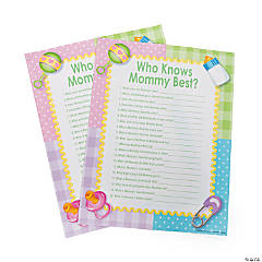 """Paper """"Who Knows Mommy Best"""" Baby Shower Game"""