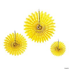 Paper Yellow Tissue Hanging Fans