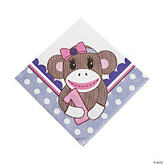 Paper1st Birthday Miss Sock Monkey Luncheon Napkins