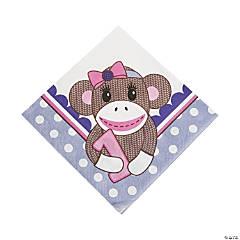 Paper1st Birthday Miss Sock Monkey Luncheon Napkins